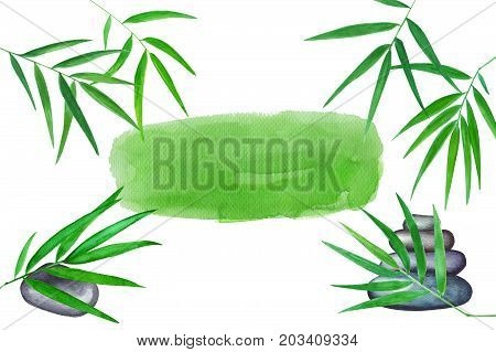 Green bamboo leaves and sea pebbles watercolor illustration. Handdrawn oriental background. Oriental banner template with text place. Tropical decor. Bamboo leaf frame. Massage salon or yoga backdrop
