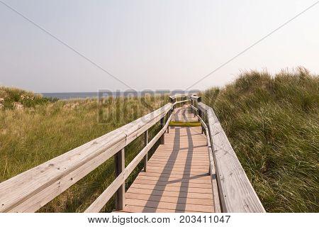 Boardwalk to the beach at Parker River National Wildlife Refuge on Plum Island in Newburyport MA.