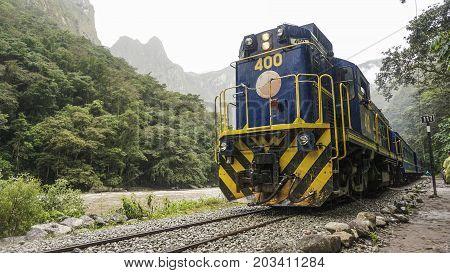 city of AGUAS CALIENTES, PERU Inca Rail train