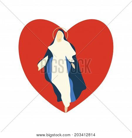 Mary Virgin Vector Illustration is great for Christian holidays: Feast of the Sacred Heart and Solemnity of the Immaculate Conception of the Blessed Virgin Mary, Feast of Our Lady of the Rosary.
