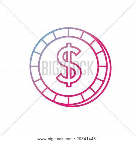 line economy coin cash money currency vector illustration