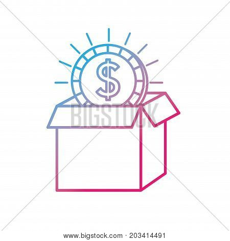line open box with coin cash money inside vector illustration