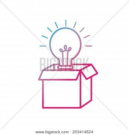 line open box with electric bulb light vector illustration