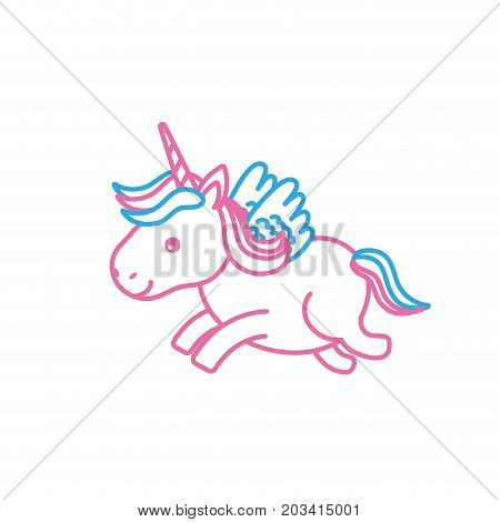 line cute unicorn with horn and wings design vecto illustration