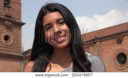 Pretty Latina Teen Girl At Church with Long Hair