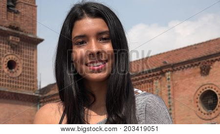 Pretty Girl Smiling Girl At Church with Long Hair