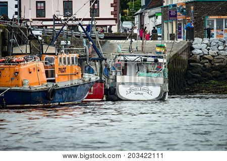 DINGLE, IRELAND - AUGUST 21, 2017: View of Irish seaport scenery in Dingle, County Kerry, Ireland