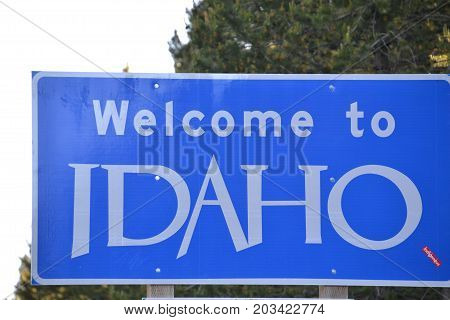 wecome to Idaho highway sign upon entering the state near west yellowstone