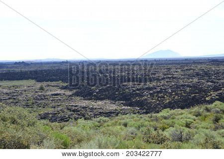 craters of the moon national park in Idaho are lava fields inside a volcanic caldera