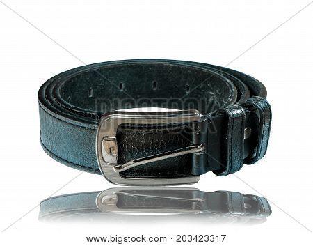 Belt or men's black belt isolated on white background.