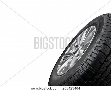 Close up tire with space for texts display isolated on a white background