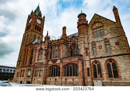 DERRY, NORTHERN IRELAND - AUGUST 27, 2017: View of Guildhall is the city hall of Derry