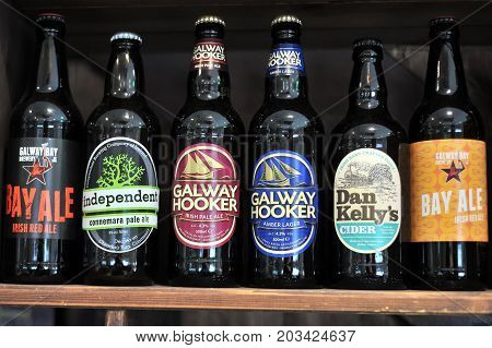 Galway Ireland July 2017 Some Galway Made craft beer bottles:Galway Bay Galway HookerIndependent Bay Ale.