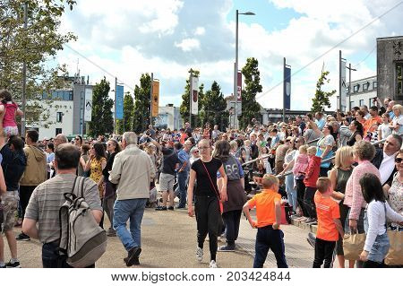 Eire Square, Galway, Ireland July , Art Festival 2017, Large Group Of People At The Square Looking A