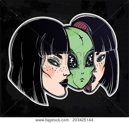 Colorful vibrant portriat of an alien from outer space face in disguise as human girl. UFO sci-fi, tattoo art. Isolated vector illustration. Trendy T-shirt print. Halloween, conspiracy theory sticker.