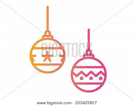 Gradient Pink To Orange Christmas Ball Deocoration Icon