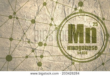 Manganese chemical element. Sign with atomic number and atomic weight. Chemical element of periodic table. Molecule And Communication Background. Connected lines with dots. Grunge distress texture.