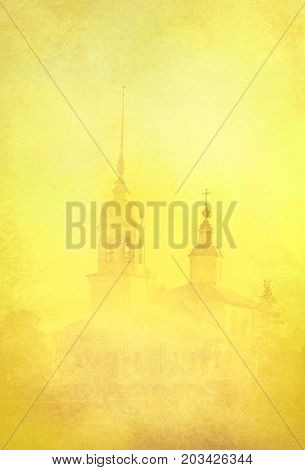 Church in the Vologda city. Yellow silhouette in the fog. Vintage card style