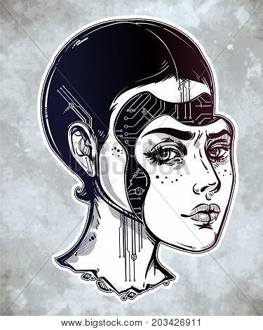 Robot or cyborg girl portrait. Beautiful female android face isolated vector illustration. Artificial intelligence alien machine. Futurism, fiction, sci-fi, character design, art for tattoo and print.
