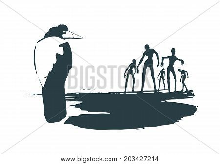 Illustration of the black raven bird sitting on brush stroke. Crowd of zombie. Vector art.