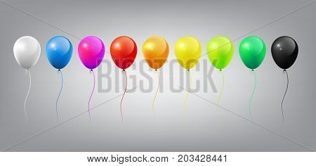 Flying Realistic Glossy Colorful Balloons template with Party and Celebration concept on white background