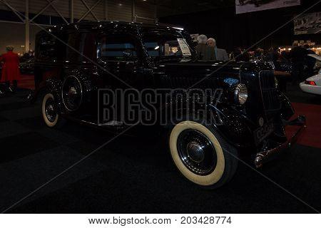 MAASTRICHT NETHERLANDS - JANUARY 08 2015: Car Ford V8 Delivery (Model 48). International Exhibition InterClassics & Topmobiel 2015