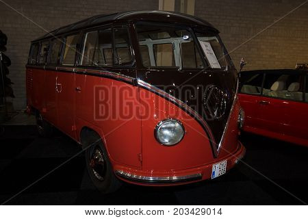 MAASTRICHT NETHERLANDS - JANUARY 08 2015: Minibus Volkswagen T1 (Samba). International Exhibition InterClassics & Topmobiel 2015