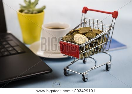 Shopping Trolley With Coins And  Laptop