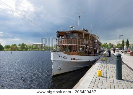 SAVONLINNA, FINLAND - JUNE 17, 2017: The old steamship