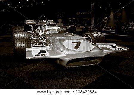 MAASTRICHT NETHERLANDS - JANUARY 08 2015: Formula One car March 701 designed by Robin Herd 1970. Stylization. Toning. International Exhibition InterClassics & Topmobiel 2015