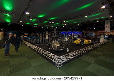 MAASTRICHT NETHERLANDS - JANUARY 08 2015: Exhibition Pavilion. General view. International Exhibition InterClassics & Topmobiel 2015