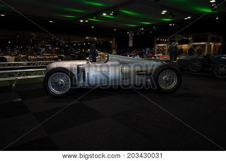 MAASTRICHT NETHERLANDS - JANUARY 08 2015: The Grand Prix racing car Auto Union Type A 1934. International Exhibition InterClassics & Topmobiel 2015