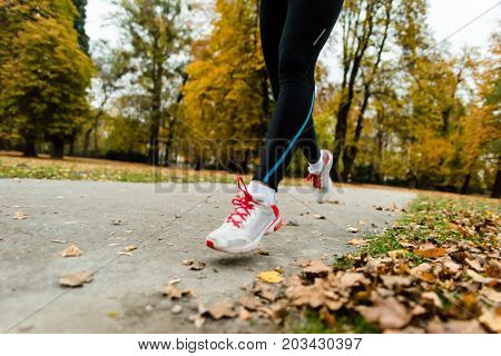 Sport, fitness and exercise concept - jogger woman.