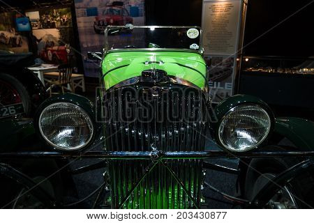 MAASTRICHT NETHERLANDS - JANUARY 08 2015: Headlamp of a sports car Talbot AV105 1933 designer by Georges Roesch. International Exhibition InterClassics & Topmobiel 2015