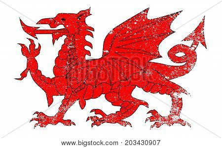The Welsh Dragon isolated over a white background with grunge
