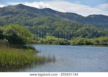 Elterwater lake in the English Lake District