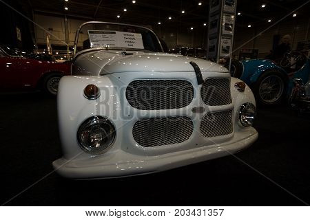 MAASTRICHT NETHERLANDS - JANUARY 08 2015: Mini car roadster Kleinschnittger F125 1953. International Exhibition InterClassics & Topmobiel 2015