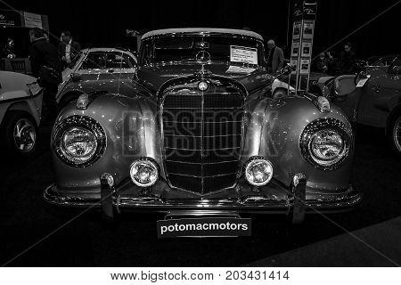 MAASTRICHT NETHERLANDS - JANUARY 08 2015: Oldtimer Mercedes-Benz 300 S (W188I) 1953. Black and white. International Exhibition InterClassics & Topmobiel 2015