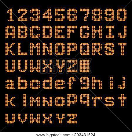 Orange LED digital english uppercase lowercase font number display on black background