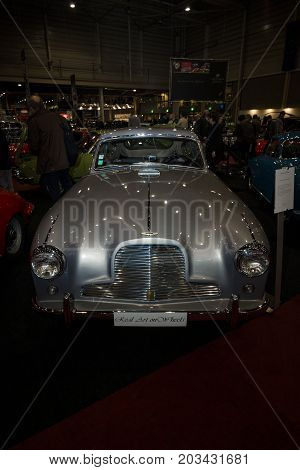MAASTRICHT NETHERLANDS - JANUARY 08 2015: Sports car Aston Martin DB2 / 4 MkII 1955. International Exhibition InterClassics & Topmobiel 2015