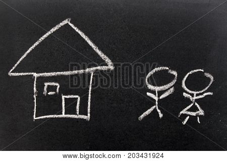 White chalk hand drawing as home and people as male female (Concept of lovely couple start new family)