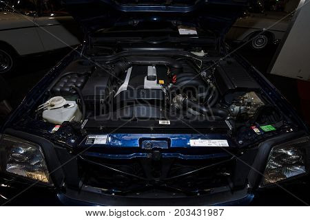 MAASTRICHT NETHERLANDS - JANUARY 08 2015: Engine of a roadster Mercedes-Benz SL320 (R129). International Exhibition InterClassics & Topmobiel 2015