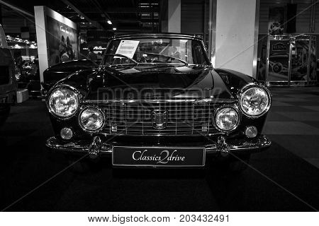 MAASTRICHT NETHERLANDS - JANUARY 08 2015: Sports car Fiat O.S.C.A. Maserati 1600 S Coupe 1963.Black and white. International Exhibition InterClassics & Topmobiel 2015