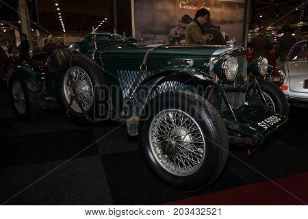 MAASTRICHT NETHERLANDS - JANUARY 08 2015: Sports car Bentley 45 Litre owned by Rivers Fletcher. International Exhibition InterClassics & Topmobiel 2015
