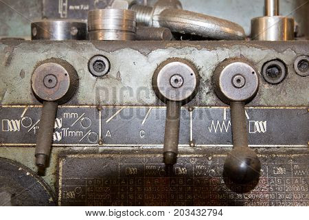 Old, functional lathe. (Made in Czechoslovakia ) poster