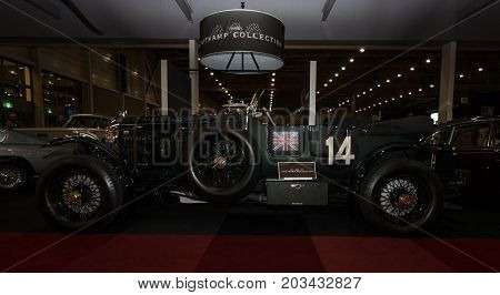 MAASTRICHT NETHERLANDS - JANUARY 08 2015: Sports car Bentley 4.5 Litre Blower by Petersen 1937. International Exhibition InterClassics & Topmobiel 2015