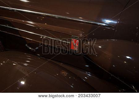 MAASTRICHT NETHERLANDS - JANUARY 08 2015: Fragment of a full-size luxury car Cadillac Fleetwood Series 70. International Exhibition InterClassics & Topmobiel 2015