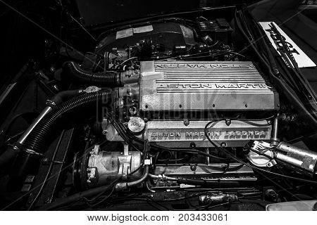 MAASTRICHT NETHERLANDS - JANUARY 08 2015: Engine of a luxury car Aston Martin Lagonda close-up. Black and white. International Exhibition InterClassics & Topmobiel 2015