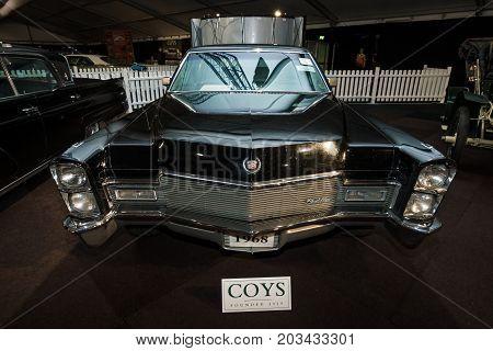 MAASTRICHT NETHERLANDS - JANUARY 08 2015: Full-size luxury car Cadillac series 75 Fleetwood 1968. International Exhibition InterClassics & Topmobiel 2015