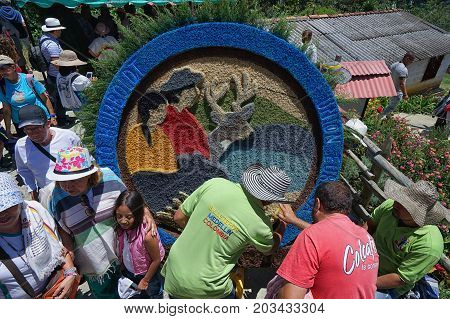 August 6 2017 Medellin Colombia: during flower festival the farms are open for tourists to visit and watch the making of floral displays for the annual parade